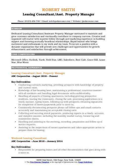 Leasing Resume Templates by Leasing Consultant Resume Sles Qwikresume