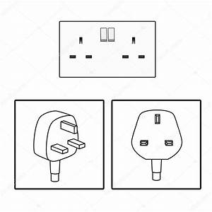 Vector  Uk  British Socket And Plug  Icon  Three 3 Pin