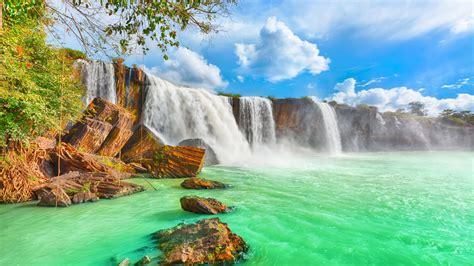 dry nur beautiful waterfall  vietnam  turquoise