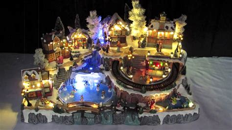 animated christmas village with train illuminated villages grand town 85cm the warehouse