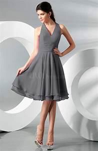 Grey Simple A-line Halter Zip up Chiffon Bridesmaid ...