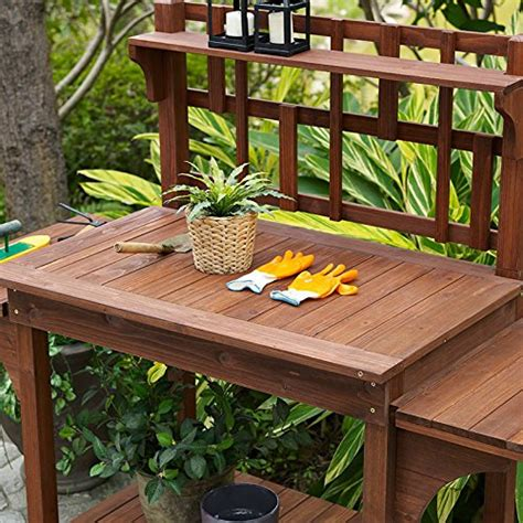 garden potting bench with storage shelf wood outdoor large