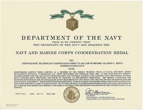 2002 Navy And Marine Corps Commendation Medal