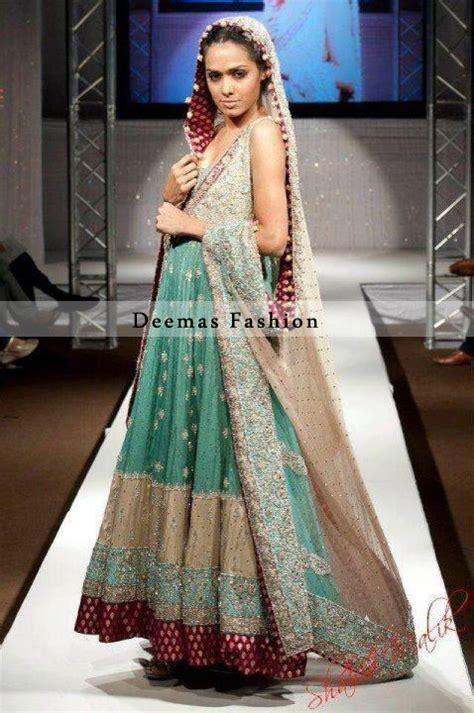 sea green light brown bridal anarkali dress latest