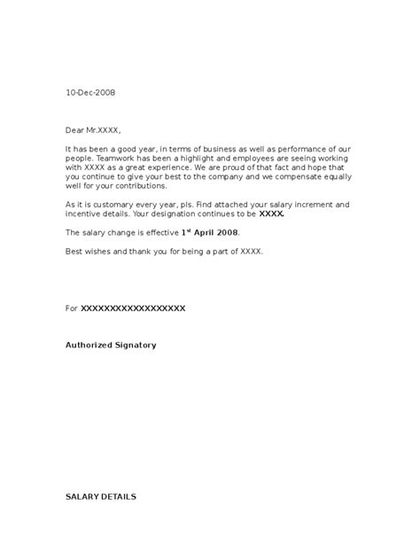 salary increment letter template   templates