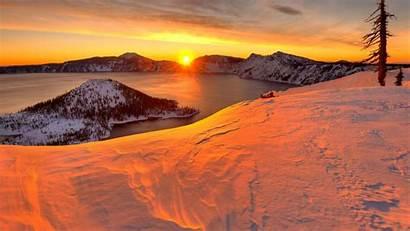 Sunset Lake Crater Backgrounds Desktop Wallpapers Premium