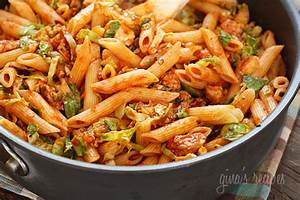 Autumn Penne Pasta with Sauteed Brussels Sprouts In A