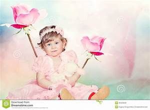 Cute Baby Girl On Pink Roses Background Stock Image ...