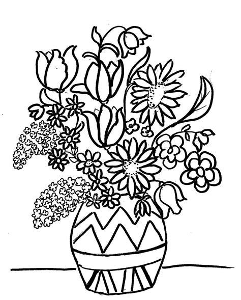 vasi di fiori da colorare disegno mazzo di fiori da colorare para colorear