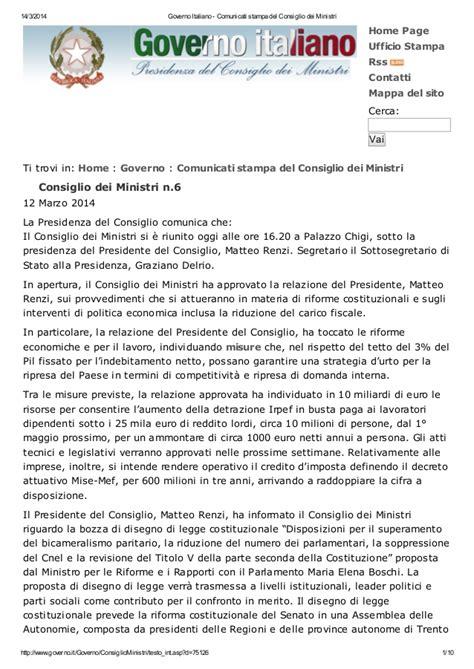 Sito Consiglio Dei Ministri by La Svolta Buona Le Decisioni Consiglio Dei Ministri