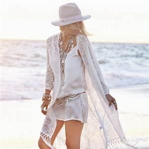Summer Ladies Fringed Kimono Cardigan Women White Lace ...