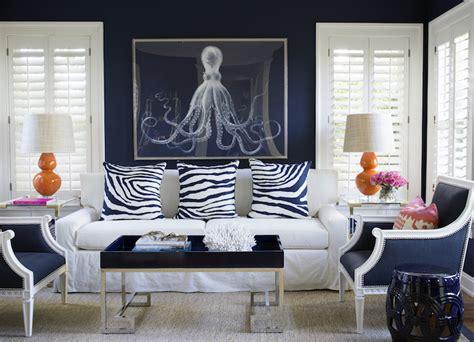 white  navy room  orange accents contemporary