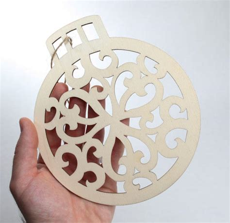 unfinished wood laser cut christmas ornament wood