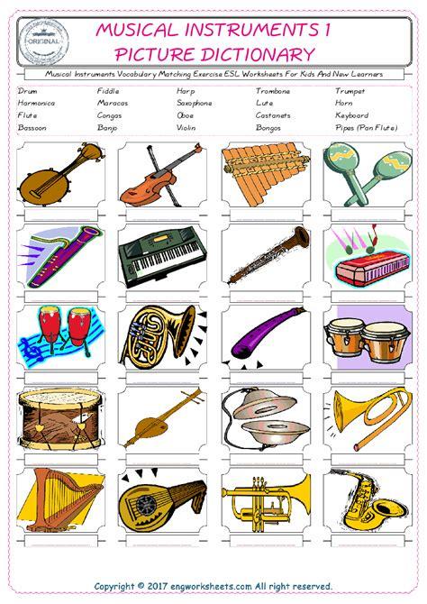 musical instruments esl printable english vocabulary