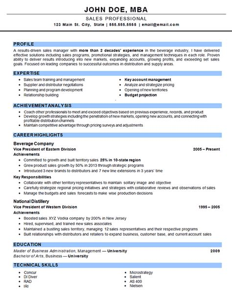 Effective Resume Sles by Outside Sales Resume Exles Sales Resume
