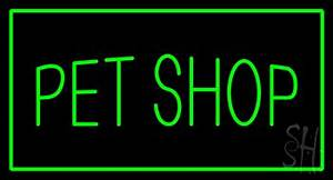 Pet Shop Rectangle Green Neon Sign Pet Shop Neon Signs