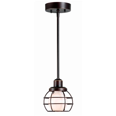 caged rubbed bronze one light mini pendant kenroy home