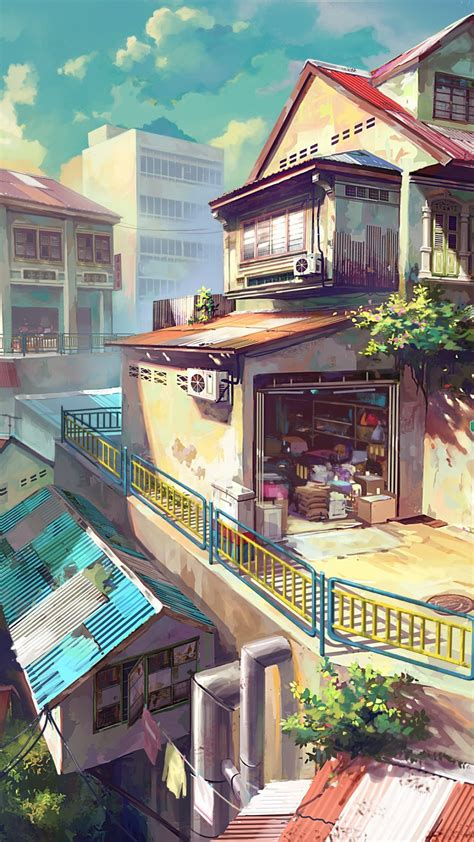 Wallpaper Japanese Anime - japanese anime painting city best htc one wallpapers