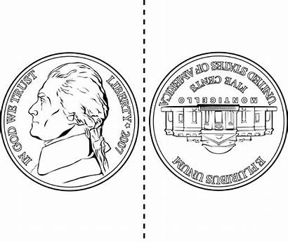 Nickel Clipart Nickle Coin Coloring Nickels Pages
