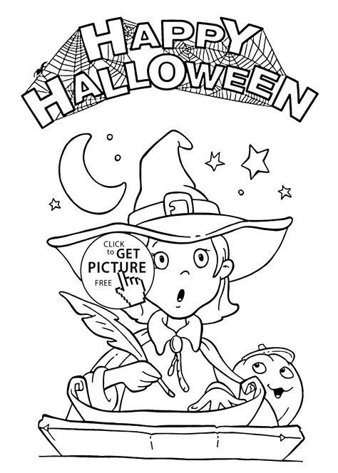 happy halloween  pretty witch coloring page  kids