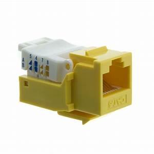 Yellow Cat6 Rj45 Keystone Jack  Toolless
