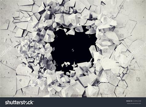 3d Rendering Explosion Broken Concrete Wall Stock