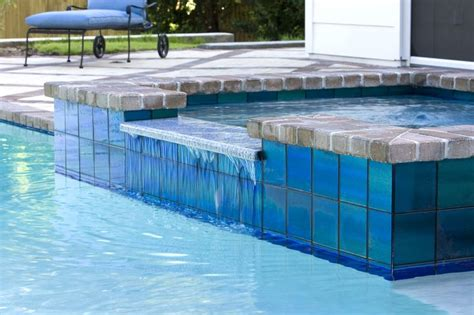 6x6 Swimming Pool Tiles by Color Shifting Modono Glass Tiles Are Used In This Florida