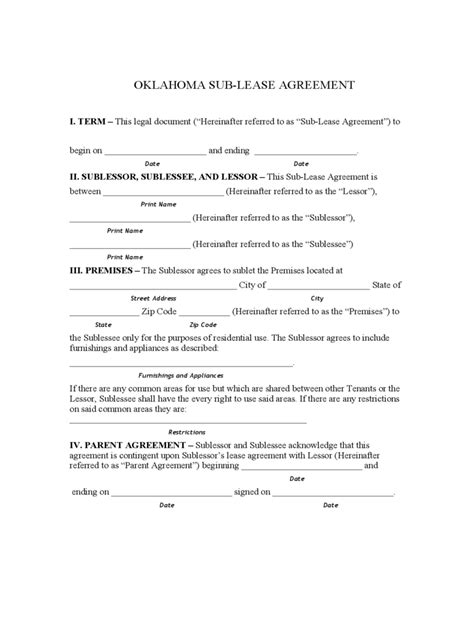 oklahoma rent  lease template  templates