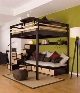 Lit Mezzanine Double : lit mezzanine 2 places et lits superpos s 23 photos sympas ~ Premium-room.com Idées de Décoration