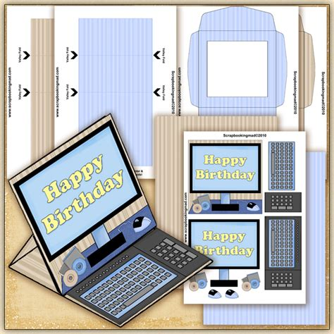 blue happy birthday computer  easel card
