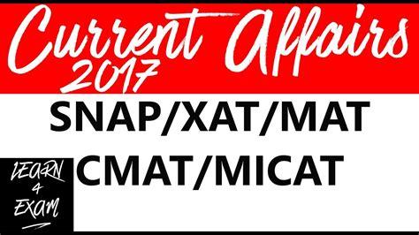 snap 2 it mat current affairs 2017 for snap xat mat cmat micat part 1