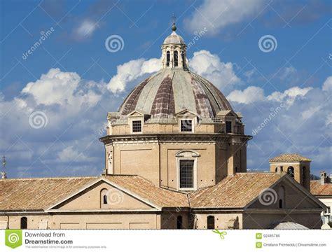 Church Of The Gesu Cupola With Beautiful Sky Stock Photo