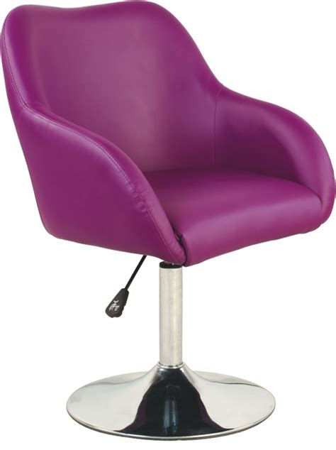 leisure modern purple leather swivel salon chair with