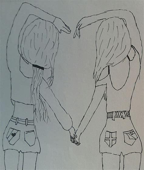 tekenen twee meisjes vormen samen een hart tekenen leuk