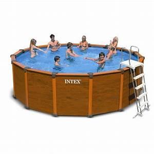 intex sequoia piscine tubulaire ronde aspect bois 478 x 1 With piscine intex aspect bois