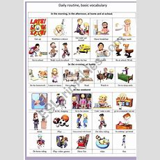 3d Daily Routine Basic Vocabulary  Esl Worksheet By French Bird