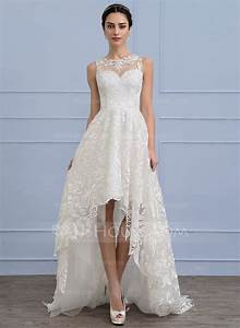 a line princess scoop neck asymmetrical lace wedding dress With asymmetrical wedding dress