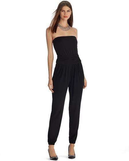 white house black market jumpsuit strapless tapered leg black jumpsuit