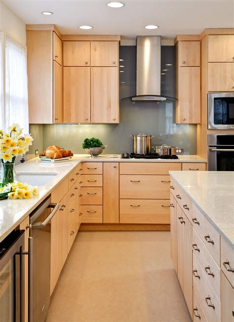maple flat front cabinets modern natural finish maple