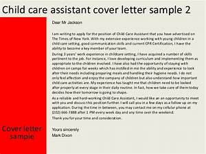 child care assistant cover letter With cover letter for working with children