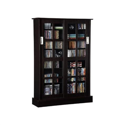 dvd storage cabinet with sliding glass doors windowpane sliding glass door media cabinet in espresso