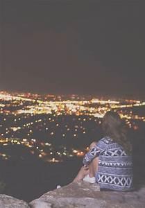 Image via We Heart It #alone #citylights #girl ...