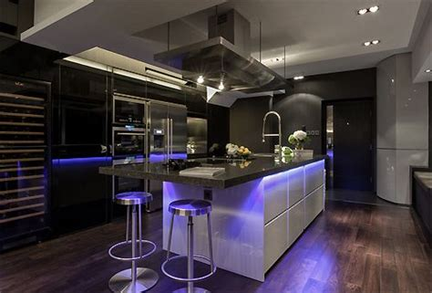 ultra modern with colored led lighting kitchen design