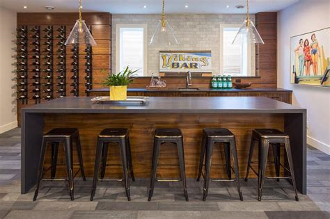 Basement Bar Island by Waterfall Basement Kitchen Countertops Design Ideas