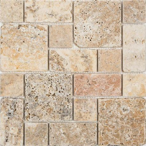 travertine mosaic tile shop anatolia tile scabos mixed pattern mosaic travertine wall tile common 12 in x 12 in