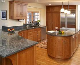 grey countertops with oak cabinets