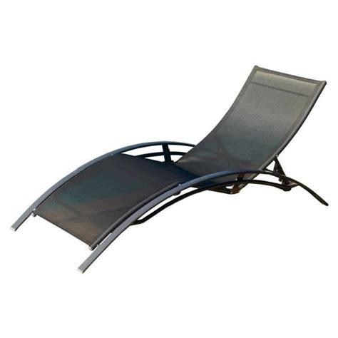 chaise textilene lot de 2 chaises longues aluminium textilène noir achat