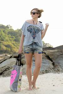 Beach outfit with Denim Shorts