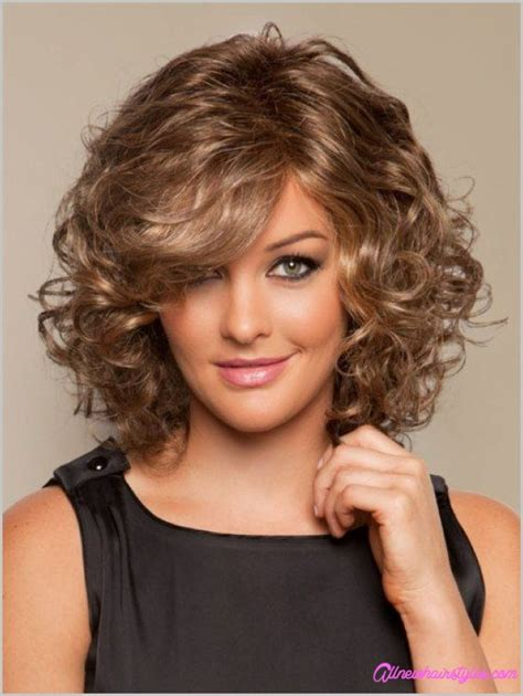medium length curly haircuts for round faces