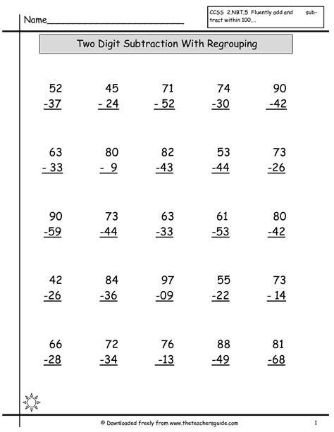 multiple digits vertical subtraction with regrouping worksheet 3rd grade addition worksheets grass fedjp